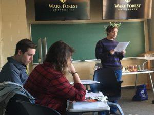 student reads poem